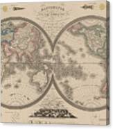 World Map Divided Into Two Hemispheres Canvas Print