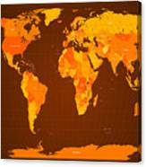 World Map Fall Colours Canvas Print