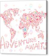 World Map Geometric Colorful Pink Canvas Print