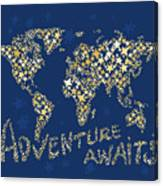 World Map Gold Yellow Star Navy Blue Canvas Print