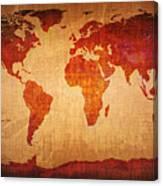 World Map Grunge Style Canvas Print