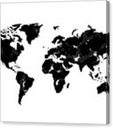 World Map In Black And White Canvas Print