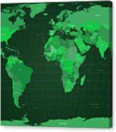 World Map In Green Canvas Print