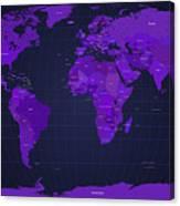 World Map In Purple Canvas Print