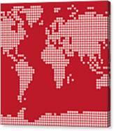 World Map Love Hearts Canvas Print