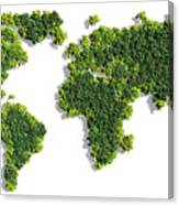 World Map Made Of Green Trees Canvas Print