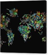 World Map Mandala Feathers 2 Canvas Print