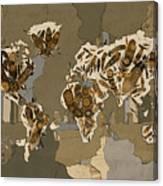 World Map Mandala Feathers 4 Canvas Print