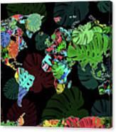World Map Monstera Leaves  8 Canvas Print
