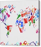 World Map Music 3 Canvas Print