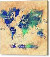 World Map Oceans And Continents Art Canvas Print