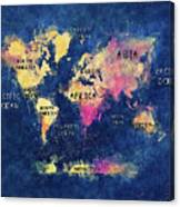 World Map Oceans And Continents Canvas Print