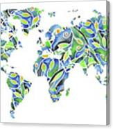 World Map Organic Green And Blue Canvas Print