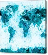 World Map Paint Splashes Blue Canvas Print