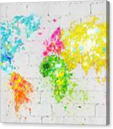 World Map Painting On Brick Wall Canvas Print
