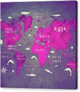 World Map Pink Canvas Print