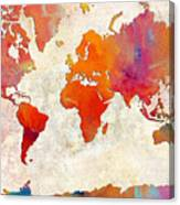 World Map - Rainbow Passion - Abstract - Digital Painting 2 Canvas Print