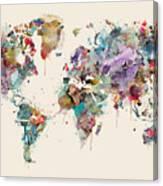World Map Watercolors Canvas Print
