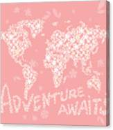 World Map White Flowers Pink Canvas Print