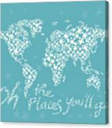 World Map White Star Turquoise Canvas Print