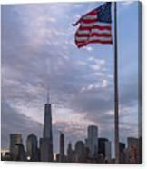 World Trade Center Freedom Tower New York City American Flag Canvas Print