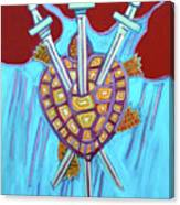 World Turtle Three Of Swords Canvas Print