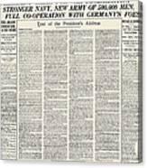 World War I: Declaration Canvas Print