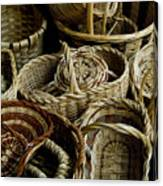 Woven Baskets For Sale At A Market Canvas Print