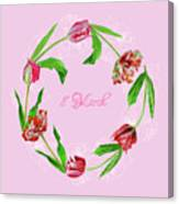 Wreath With Tulips Canvas Print