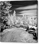 Wrecking Yard In Infrared 3 Canvas Print