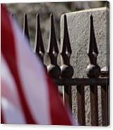 Wrought Iron And American Flag Canvas Print