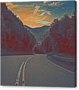 Wynding Road In Between Trees Canvas Print