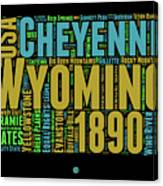 Wyoming Word Cloud Map 1 Canvas Print