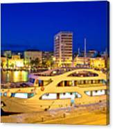 Yacht In Zadar Harbor Evening View Canvas Print