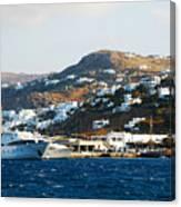 Yachts Docked At Port Skala Greece On Patmos Island Canvas Print