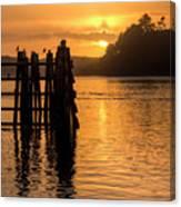 Yaquina Bay Sunset - Vertical Canvas Print