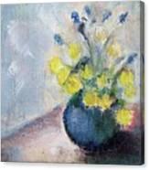 Yello Flowers In Blue Vaze Canvas Print