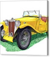 Yellow 1949 M G T C Midget Canvas Print