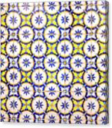Yellow And Blue Circle Tile Canvas Print