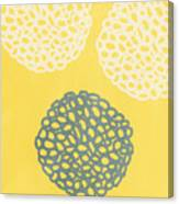 Yellow And Gray Garden Bloom Canvas Print