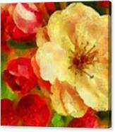 Yellow And Red Floral Delight Canvas Print