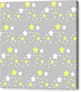 Yellow And White Stars On Grey Gray  Canvas Print