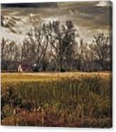 Yellow Barn And The Field Canvas Print