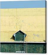 Yellow Barn Roof Workers-3 Canvas Print