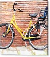 Yellow Bicycle Digital Watercolour Canvas Print
