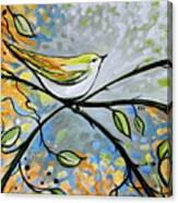 Yellow Bird Among Sage Twigs Canvas Print
