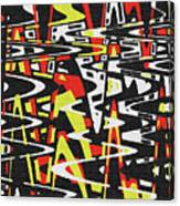 Yellow Black Red White Drawing Abstract Canvas Print
