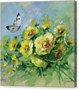 Yellow Blossoms And Butterfly Canvas Print