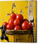 Yellow Bucket With Tomatoes Canvas Print