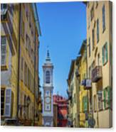 Yellow Buildings And Chapel In Old Town Nice, France - Landscape Canvas Print
